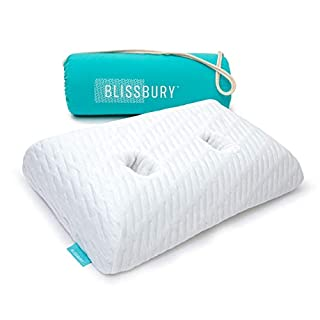 BLISSBURY Ear Pillow with Ear Hole for Sleeping with Sore Ear Pain | Adjustable Memory Foam Pillow with Holes for chondrodermatitis CNH Pain | Ear Piercing Protection | Support earplugs for Sleep