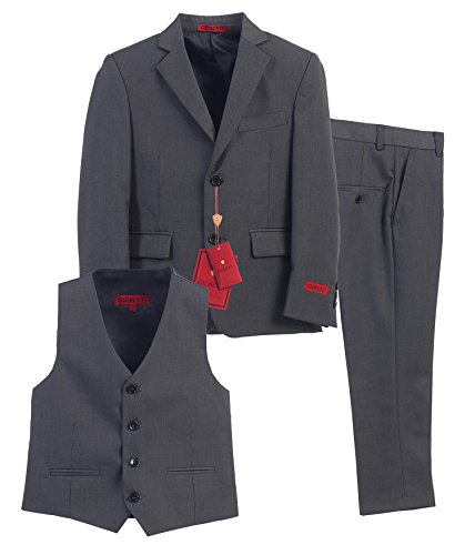 Gioberti Boy's Formal 3 Piece Suit Set, Charcoal, Size 14
