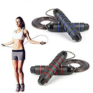 Well-Being-Matters 41fdzhVLTgL._SS300_ 2 Pack Jump Rope Workout,Skipping Rope Steel Cable - Sayfine Speed Rope Workout for Fitness, Adjustable Jumping Ropes…