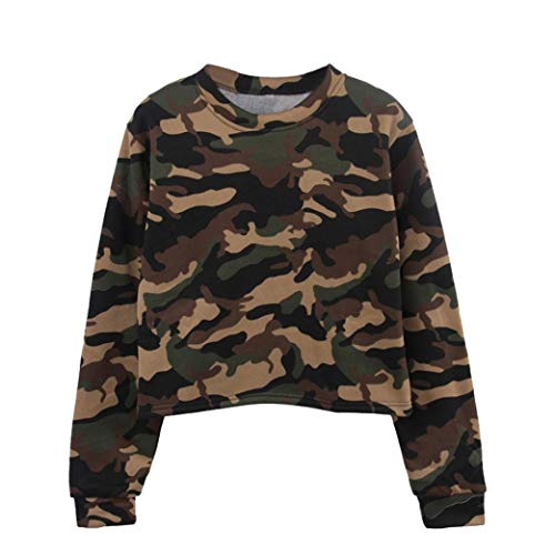 Promotion,Gillberry Womens Long Sleeve Blouses Camouflage Patchwork O Neck Sweatshirt Casual tops