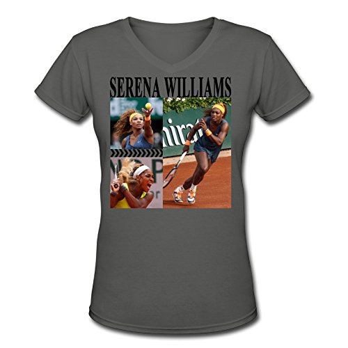 QUEENAS Women's Wimbledon Championships Serena Williams V-Neck T-shirts DeepHeather