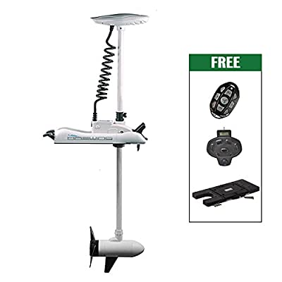 "Aquos White Haswing 12V 55LBS 54"" Shaft Bow Mount Electric Trolling Motor Portable,Variable Speed,with Foot Control/Quick Release Bracket for Bass Fishing Boat Freshwater, Saltwater Use,Energy Saving"