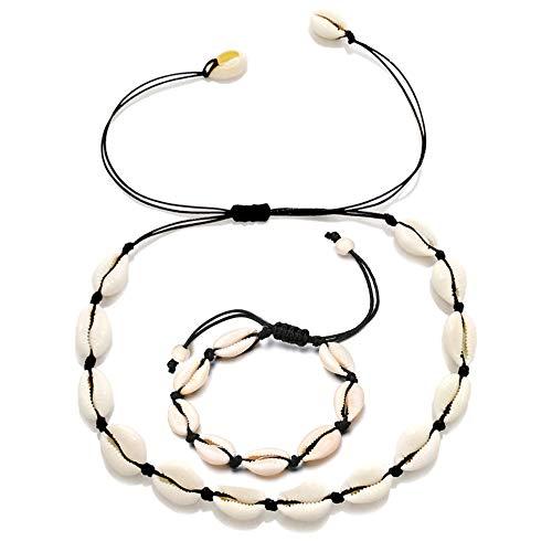 - Shell Seashell Necklace Bracelet Set, Conch Shell Necklace Choker Bracelet Natural Cowrie Shell Boho Hawaii Summer Beach Jewelry Gifts for Women Girls
