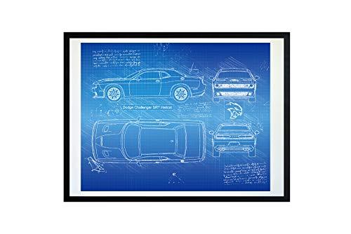 #214 Dodge Challenger SRT Hellcat 2015 Art Print, da Vinci Sketch – Unframed – Multiple Size/Color Options (16x20, Blueprint)