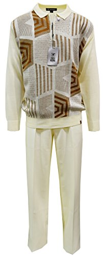 STACY ADAMS Men's Sweater & Pant Set, Honeycomb Jacquard Design (2XL/42, Cream)