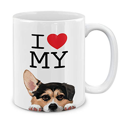 MUGBREW I Love My Tricolor Pembroke Welsh Corgi Dog Ceramic Coffee Gift Mug Tea Cup, 11 OZ ()