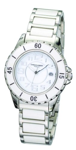 Charles-Hubert, Paris Women's 6755-W Premium Collection White Ceramic and Stainless Steel Watch