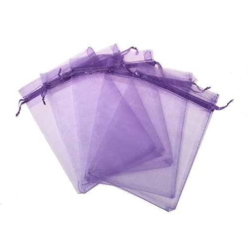 Purple Flowers Gift Bag - KUPOO Pack of 50PCS 8x12 Inch Organza Drawstring Gift Bag Pouch Wrap for Party/Game/Wedding (Lavender)