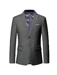 Chaqueta blazer de corte ajustado con dos botones y solapa con muescas para hombre