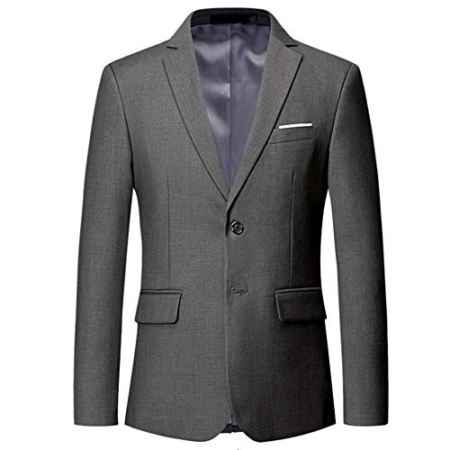Mens Slim Fit Blazer Jacket Two-Button Notched Lapel Casual Suit Jacket Gray