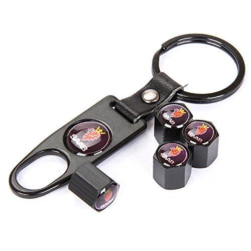 CzlpV Black Car Wheel Tire Valve Caps Tyre Stem Air Caps Keychain Styling For SAAB