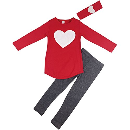 Aulase Kid Toddler Girls Heart Print 3pcs Clothes Suit Top and Legging Pants Set Red 6-7Y/Tag 140cm (2 Piece Printed Hearts)