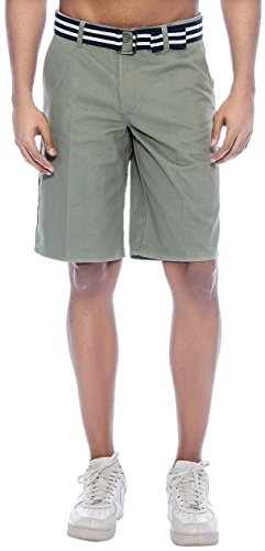[Enimay Men's Solid Colored Plain Summer Flat Front Cotton Shorts /w Free Belt Steel 32] (Misses Flat Front Shorts)
