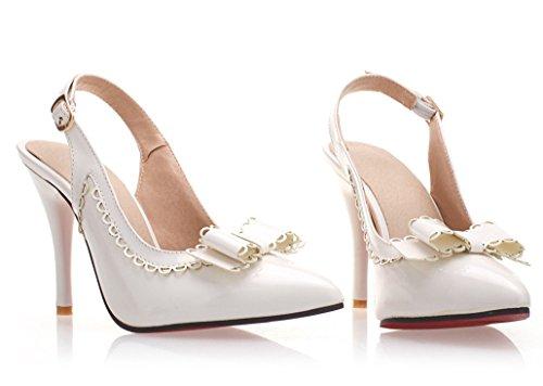 YE Damen Slingback Spitze High Heels Pumps mit Schleife Lackleder Geschlossen Sandalen Stiletto Party Braut Hochzeit Schuhe Weiß