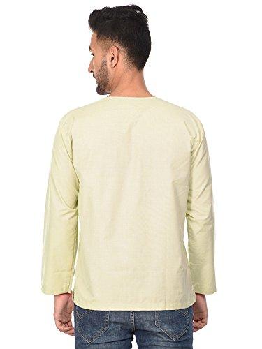 Kurta Robe Indienne Chemise Décontractée Pour Les Hommes Coton Manches Longues Robe De Yoga Beige Décontractée