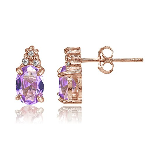 Rose Gold Flashed Sterling Silver Simulated Amethyst and CZ Accent Oval Stud Earrings