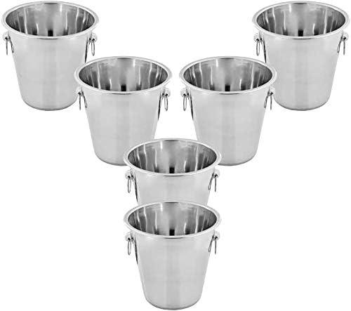 Kosma - Juego de 6 cubos de acero inoxidable para champán, enfriador de vino, cubeta de hielo, 4 litros
