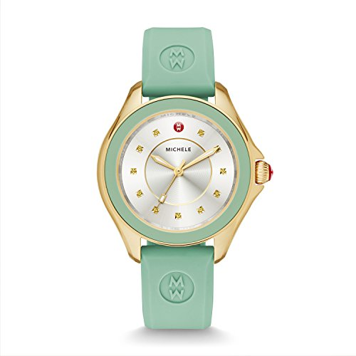 MICHELE Women's 'Shawl' Quartz Stainless Steel and Silicone Dress Watch, Color:Green (Model: MWW27A000018)