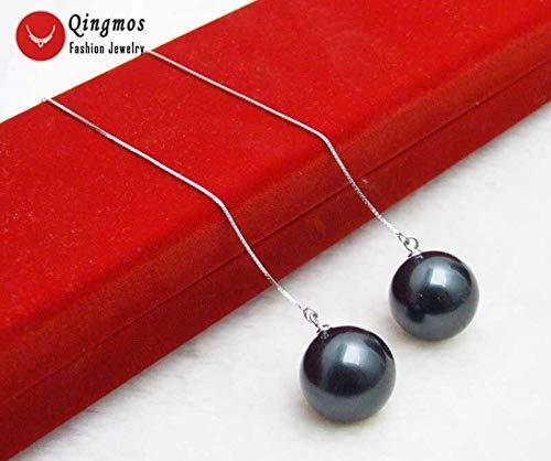 Qingmos Genuine Sterling Silver S925 Ear Line Dangle 439;39; Earrings for Women &Amp; 1216Mm Black Drop Sea Shell Pearl Earring-Ear663 (665 Black 18mm Round)