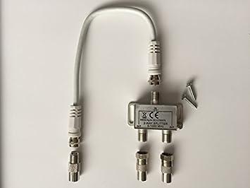 2-fishingline TV-Verteiler Weiche Zweifachverteiler para TDT y televisión por cable, incluido 20 cm cable de antena ...