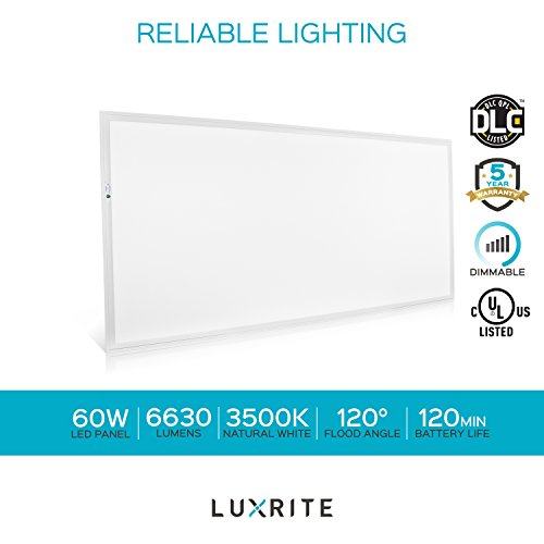 Luxrite 2x4 LED Flat Panel Light with Emergency Battery Backup, 60W 3500K Natural White, 0-10V Dimmable, 6630 Lumens, LED Drop Ceiling Lights, 100-277V, DLC and UL Listed, Ultra Thin Edge Lit - 2 Pack by LUXRITE (Image #8)