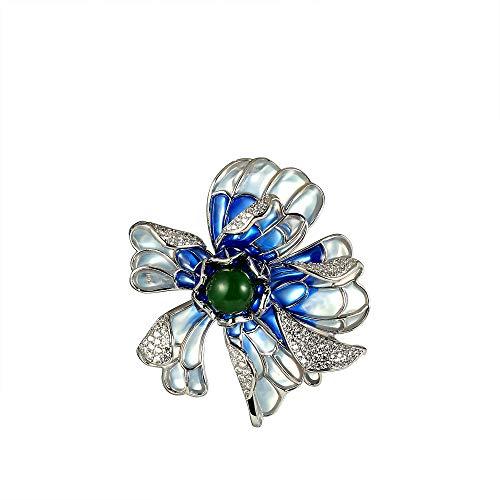 (CHOMAY Brooches and Pins Zirconia Setting Jade Rhinestone Modern Brooch Jewelry Flower )