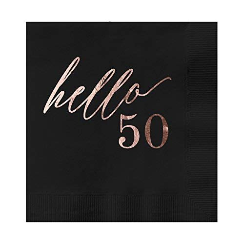 Frenzy Foil - Hello 50 Black Beverage Cocktail Party Napkins 25 Pack with Rose Gold Foil Printing 4.75
