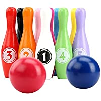 """YEHAM 4.3"""" Kids Wooden Digital Bowling Set, 10 Colorful Wooden Bowling Bottles and 2 Wooden Balls for Indoor & Outdoor…"""