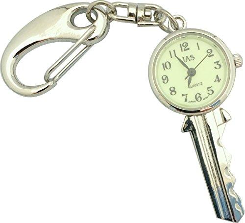 JAS Unisex Novelty Belt Fob/Keychain Watch Key Silver Tone - Luminous