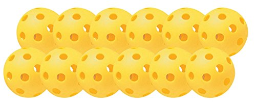 Plastic Training Softballs (Champion Sports Yellow Plastic Softballs: Hollow Balls for Sport Practice or Play - 12 Pack)