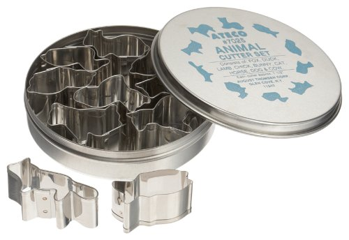 Ateco 7025 Plain Edge Animal Cutters in Assorted Animal Shapes, Stainless Steel, 10 Pc Set by Ateco