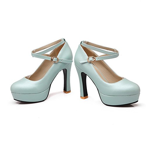Round Buckle Women's Closed Soft Pumps Material WeiPoot High Solid Shoes Blue Heels Toe Zxq8tWn