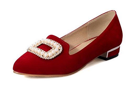 VogueZone009 Damen Nubukleder Rein Ziehen auf Spitz Zehe Niedriger Absatz Pumps Schuhe Rot