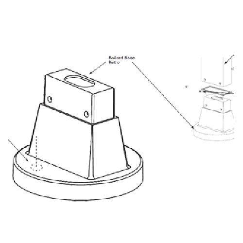 RAB Lighting BOLBASERETRO Bollard Base Adaptor for Retro Kit No Mtg Plate or Bolts, Bronze