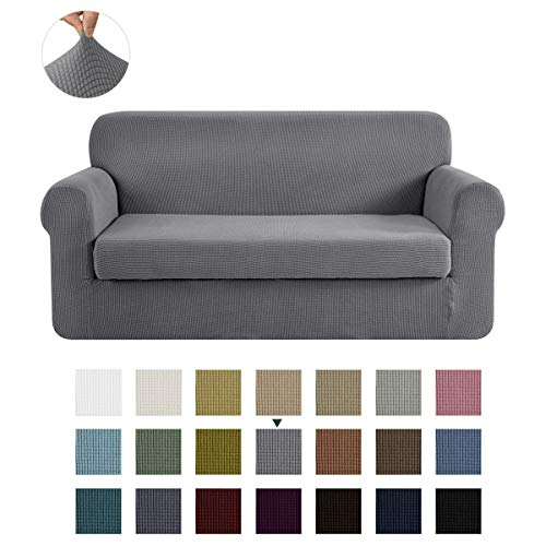 CHUN YI Stretch Sofa Slipcover 2-Piece Couch Cover Furniture Protector, 3 Seater Coat Soft with Elastic Bottom, Checks Spandex Jacquard Fabric (Large, Light Gray)