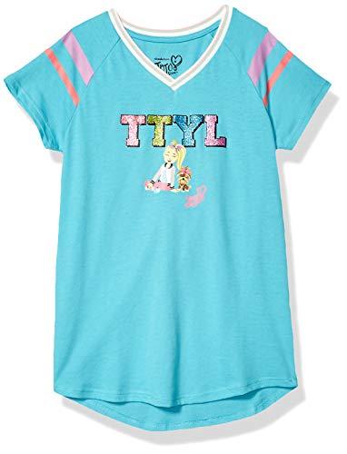 JoJo Siwa Girls' Big TTYL Emoji JoJo & Bow Bow V-Neck Athletic Varsity Stripe Tee, Turquoise, X-Large-16