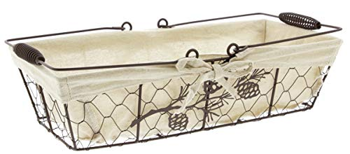 Distinctive Designs Decorative Basket with Liner Metal Wire Pine Cone Design (Pine Cone Designs)