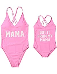 7bc8483d33 Mommy and Me Swimsuit Family Matching Baby Girls Women Letter Print One  Piece Swimwear Bathing Suit