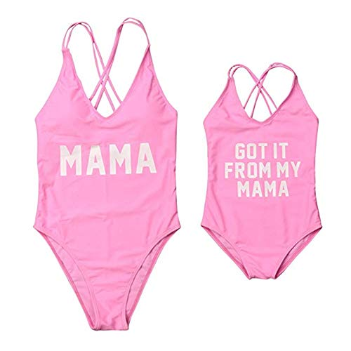 (Mommy and Me Swimsuit Family Matching Baby Girls Women Letter Print One Piece Swimwear Bathing Suit Pink Mom L)