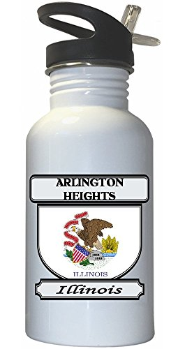 Arlington Heights, Illinois (IL) City White Stainless Steel Water Bottle Straw Top (City Of Arlington Heights Il)