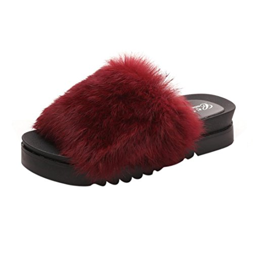 Inkach Thick Red Flops Shoes Bottom Fluffy Sliders Stylish Girls Flat Faux Flip Women Fur Slipper Sandal PFwZFfE