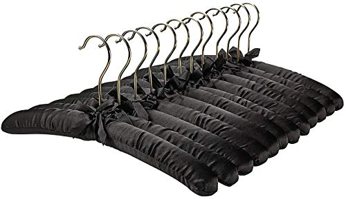 (FloridaBrands Anti Slip Satin Padded Hangers Black Soft Fabric with Gold Hook - Heavy Duty for Women's Clothes, Coat, Blouse, Sweaters, Dresses, Clothing - Set of 12 )