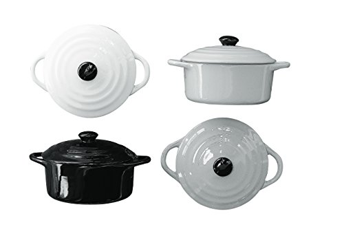 Creative Co-Op 4Piece Stoneware Round Mini Bakeware Set with Lids & Handles, , Multi-Colored
