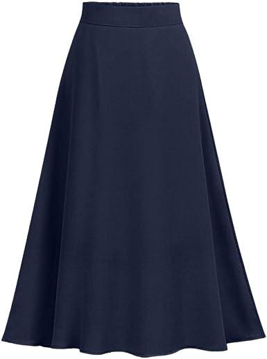 Vestidos Mujer Casual -Falda De Cintura Elástica Manga Larga En ...