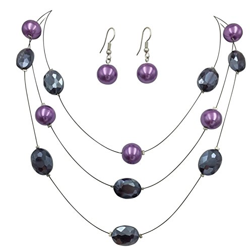 Multi Row Beaded Illusion Wire Lightweight Necklace and Dangle Earring Set (Purple Glass & Simulated Pearl 3 Row)