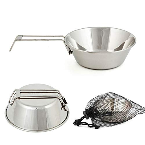 AmorlyOutdoor Portable Stainless Steel Bowl Camping Bowl with Folding Handle for Camping Hiking Cookware Cooking Picnic