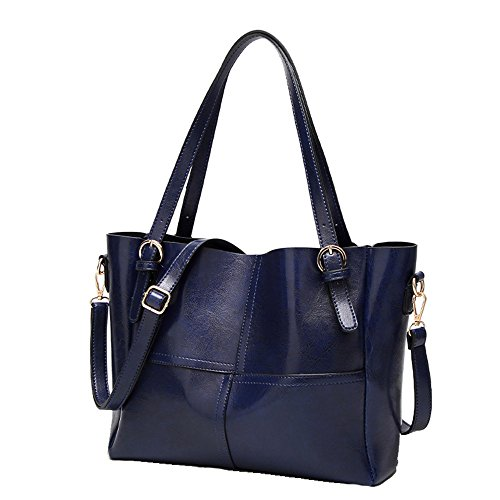 Anne - Bolso de tela de poliuretano para mujer negro gris claro azul oscuro