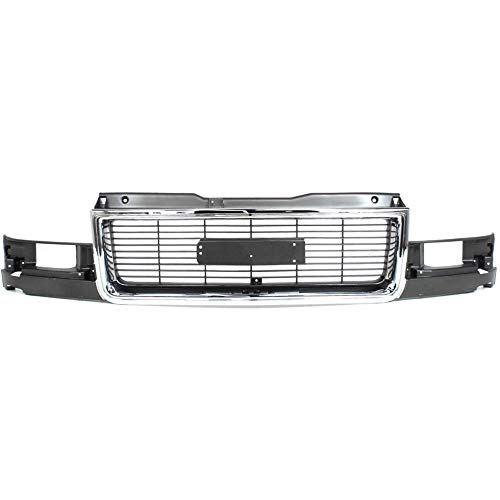 - Grille compatible with GMC Safari 95-05 Chrome Shell/Painted-Gray Insert W/Composite Headlight