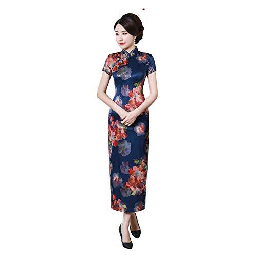 Shanghai Story Short Sleeve Floral Qipao Long Chinese Dress Faux Silk Cheongsam 3XL C0199A