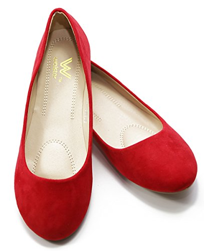 Walstar Chaussures Nouvelles Femmes Ballet Chaussures Plates Slip On Red Dede